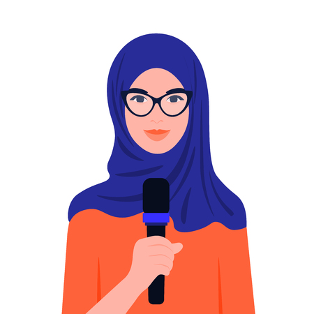 Muslim arab woman talking in microphone in front of conference. Human rights and social activities. Business and education. Vector flat illustration.