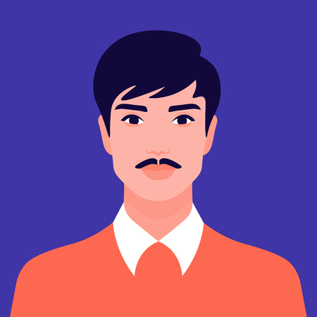 Portrait of a man with a mustache. Hindu avatar Nations and races. Vector flat illustration