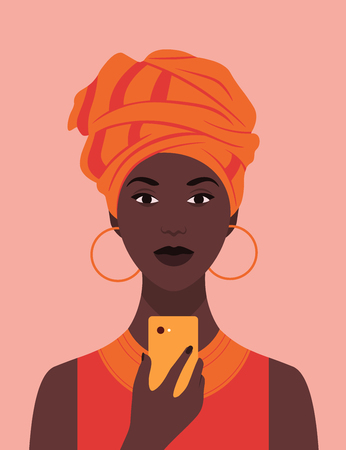 African woman in national headdress with a phone. Portrait. Avatar. Addiction on the smartphone and the Internet. Social networks. Vector flat illustration