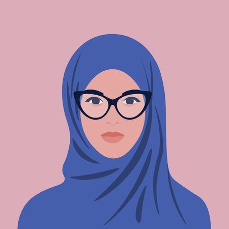 Ritratto di una donna araba in hijab e occhiali. Avatar ragazza musulmana. Illustrazione piatta vettoriale