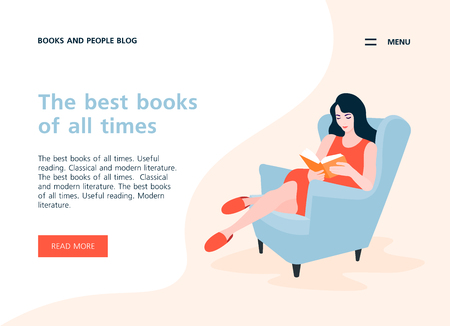 Woman sitting in a comfortable armchair and reading a book. Rest and relaxation at home. Vector flat illustration