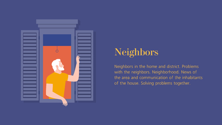 Anonymous man leaned out of the window and waved his hand. Neighborhood. Horizontal banner with text. Summer evening. Vector flat illustration