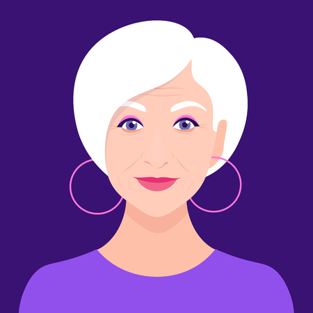 Portrait of an old woman. Avatar fashionable pensioner. Happy old age. Vector flat illustration