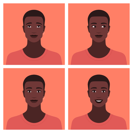 Set of avatars of the African guy. Different emotions: happiness, curiosity, dreaming and calm. Vector flat illustration Foto de archivo - 124952289