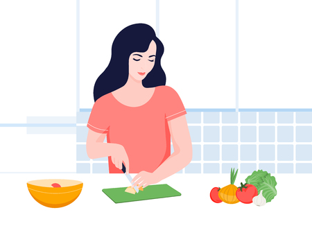 Healthy food in the kitchen. Culinary blog. Apartment interior. Vector flat illustration