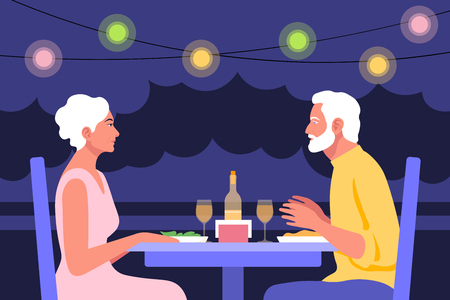 The woman is sitting at the table in profile. Date and business meeting in a cafe. Summer evening in a restaurant on the street. Vector flat illustration