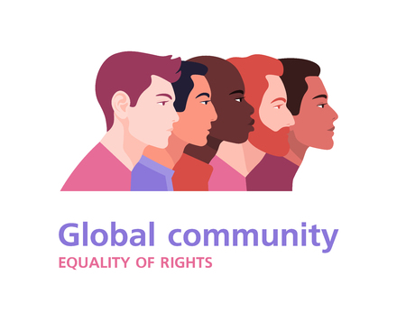 Profiles of men of different nations. International community and relationships. Diversity culture. Team. Vector flat illustration