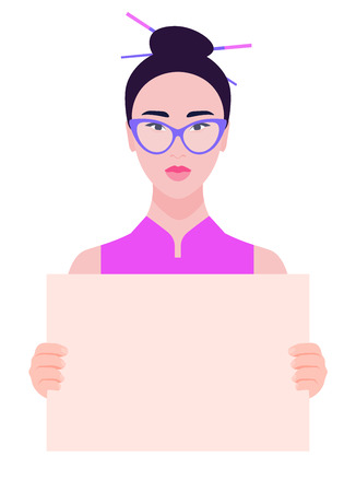 Young Asian woman holding a poster without text. Womens rights and discrimination. Vector illustration of a flat style. 向量圖像