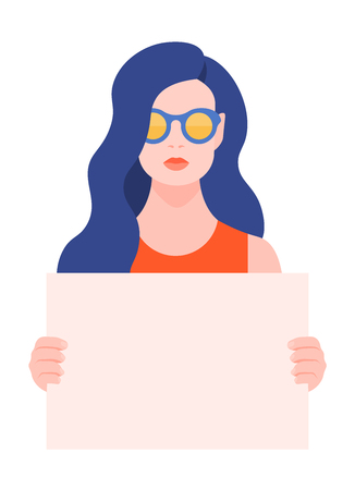 European woman holding a blank poster without text. Protest and protection of rights. Meeting and demonstration. Vector flat illustration