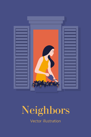 Watering the flowers Neighborhood. Warm summer evening. Postcard. European architecture. Vector flat illustration