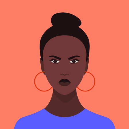 Avatar of an angry girl. Portrait of aggressive African woman. Stress Vector flat illustration Ilustração