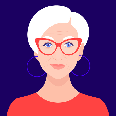 Portrait of an old woman with glasses. Avatar fashionable pensioner. Happy old age. Vector flat illustration Illustration