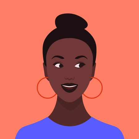 Portrait of a curious girl. Avatar of an African young woman. Emotional face. Vector flat illustration Illustration