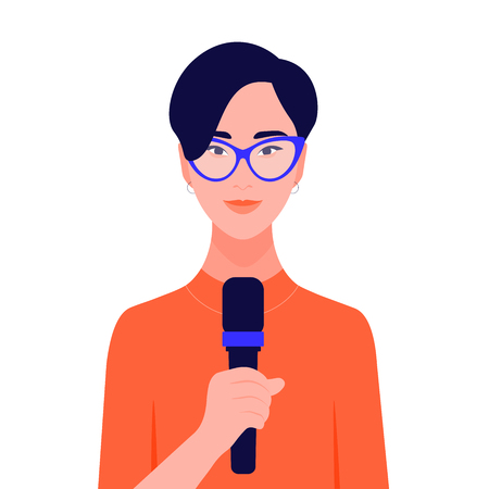 Asian woman talking in microphone in front of conference. Human rights and social activities. Business and education. Vector flat illustration.