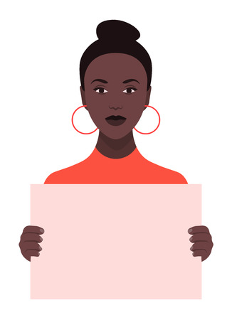 An African girl is holding a poster. Feminism and womens rights. A student is protesting. Vector flat illustration