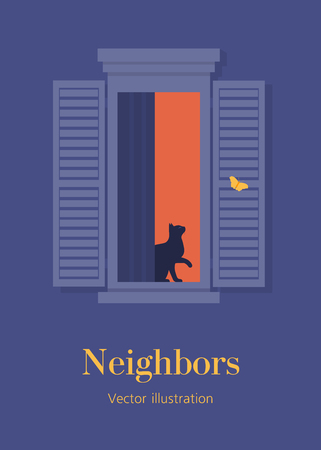 Cat in the open window. Neighbors. Facade of a residential building. Summer night. Postcard. Vector flat illustration 向量圖像