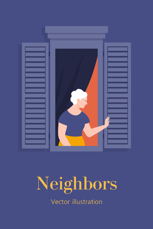 Old woman in the window of an apartment. A neighbor waving and greeting. Grandmother. Template postcard with text. Vector flat illustration