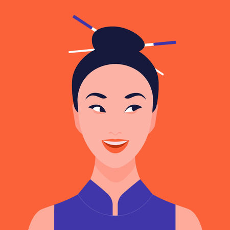 Portrait of a curious woman. Asian girl. Surprised face. Gossip, rumors and secrets. Vector illustration 向量圖像