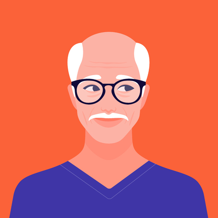 Portrait of an elderly man. Grandfather portrait. The face of an elderly man. Vector flat illustration