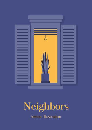A window with a plant. Warm summer evening. Neighborhood. Italian style. European architecture. Postcard. Vector flat illustration 向量圖像