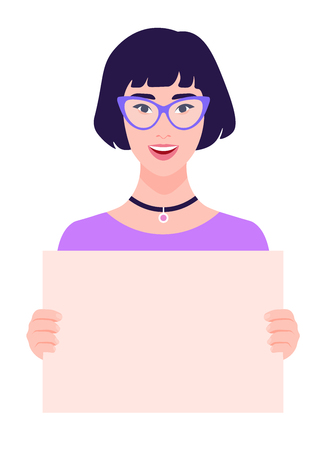 Asian girl holds Cheerful young woman on a white background. Feminism and womens rights. A student is protesting. Vector illustration in flat style 向量圖像