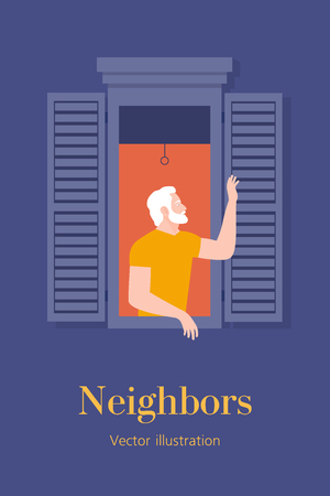 Anonymous man leaned out of the window and waved his hand. Neighborhood. Vertical banner with text. Postcard. Summer evening. Vector flat illustration 向量圖像