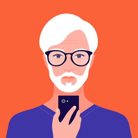 Portrait of an old oriental man with a phone. Addiction on the smartphone and the Internet. Social networks. Avatar of an Asian retiree. Vector flat illustration Ilustração