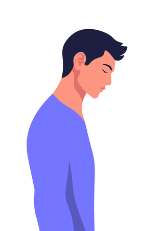 Profile of a sad young man with his head down. Errors and failures. Depression. Vector illustration in white background.