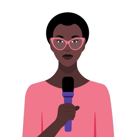 Mujer africana hablando frente a una conferencia. Derechos humanos y actividades sociales. Negocios y educación. Ilustración vectorial plana