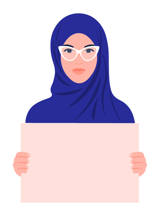 Young Arabian woman holding a poster without text. Womens rights and discrimination. Muslim girl. Vector illustration of a flat style