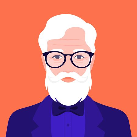 Portrait of an old hipster man in a suit with a bow tie. Avatar fashion grandfather. Vector illustration in flat style Ilustração