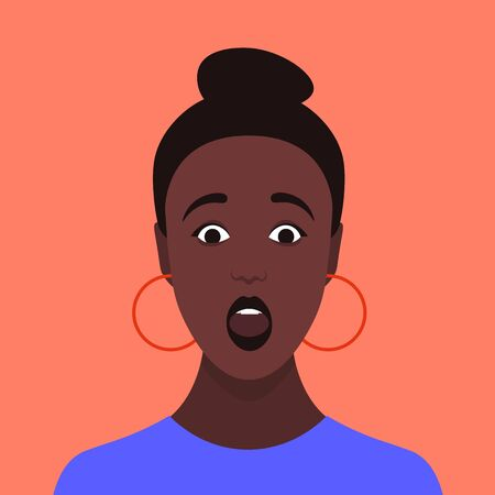 Surprised face. Portrait of an African girl. Amazement. Shock. Avatar of a young woman. Vector Flat Illustration Imagens - 124952355