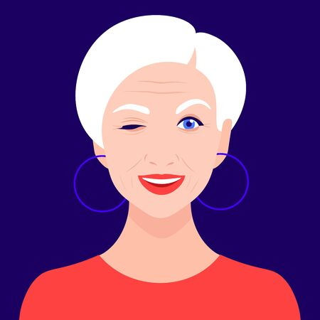 An older woman winks and smiles. Portrait of a funny grandmother. Avatar Vector flat illustration