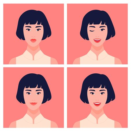 Set of avatars of an Asian girl. Eastern student in a different emotional mood. The young woman winks, joyful, smiles. Vector flat illustration