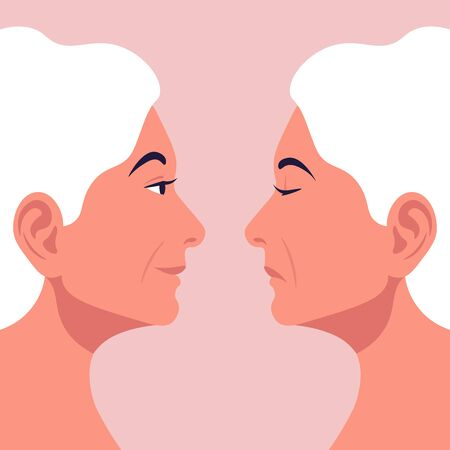 Bipolar disorder. Good mood. Two female faces from the side. Vector illustration in flat style Illustration