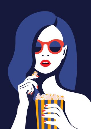 Beautiful girl in glasses eats popcorn and watches a movie. Portrait of a young woman with open mouth. Vector illustration in flat style Ilustração