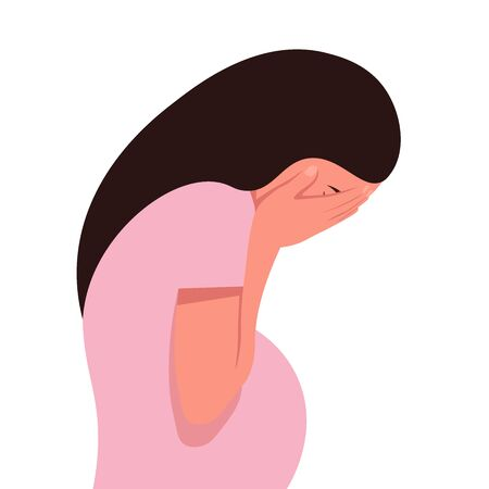 A pregnant woman in despair. Profile of a girl sobbing on a white background. Nervous breakdown.