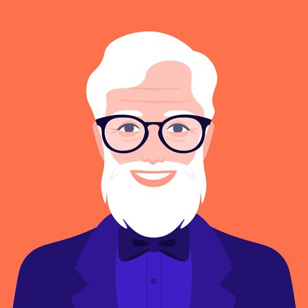 Portrait of an elegant elderly man. Avatar of a happy grandfather with a beard.