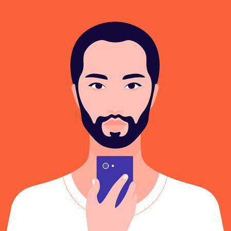 Portrait of an Asian male holding a mobile phone in his hand. Avatar bearded man. Addiction on the Internet and social networks.