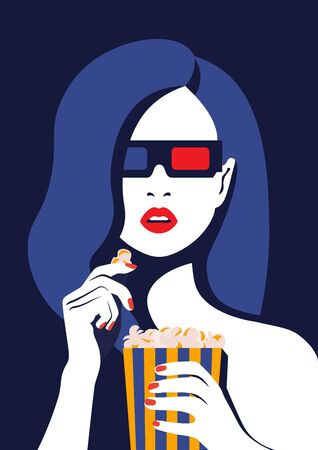 Beautiful girl in 3d glasses and a movie. Portrait of a young woman with open mouth. Illustration