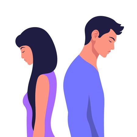 Profiles of a man and a woman in a quarrel. Conflicts between husband and wife. Divorce. Depression and anxiety.