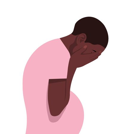 A pregnant African woman in despair. Profile of a girl sobbing on a white background. Stock Illustratie