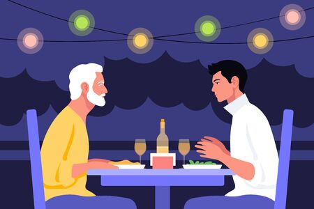 Two older men sitting at the table in profile. Date and business meeting in a cafe. Summer evening in a restaurant on the street. Ilustração