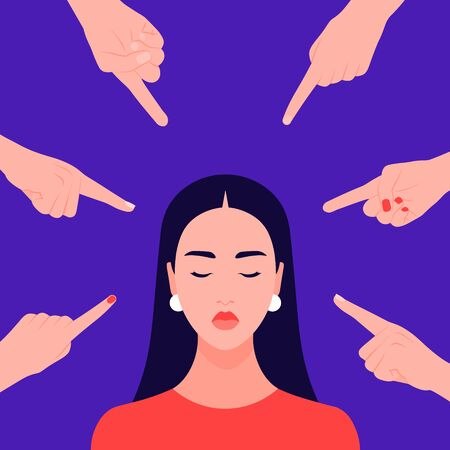 Shame. Hands of people Portrait of a young woman. Alien opinion and the pressure of society.Vector flat illustration Ilustração
