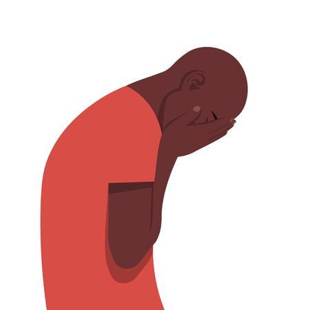 Young African man in despair. The guy in profile is under great stress. Nervous breakdown. Depressive disorder. Vector illustration in flat style. Illustration