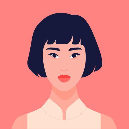 Ritratto di una ragazza asiatica calma. Studentessa avatar. Studentessa. Illustrazione piatta vettoriale