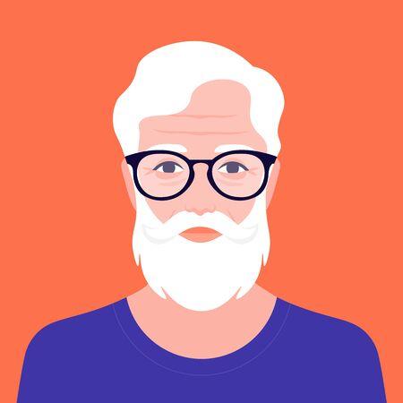 Retrato de un anciano hipster con barba. Abuelo de la moda de Avatar. Pensionista con estilo. Ilustración de vector de estilo plano Ilustración de vector