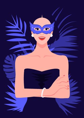 Portrait of a beautiful girl in a carnival mask. Her arms crossed and her arms crossed. Summer party. Vector flat illustration