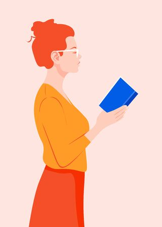 Stands in her hands. Red-haired girl in glasses reading a book. Vector flat illustration