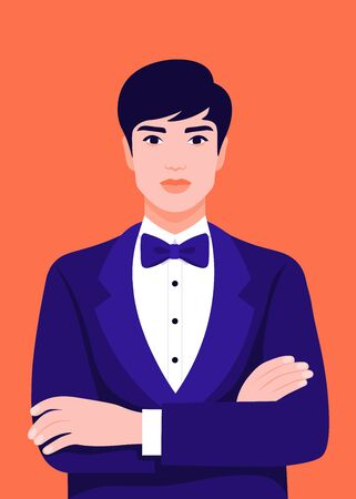 Portrait of an elegant man with arms crossed. Tuxedo and glasses. Vector bright illustration in flat style